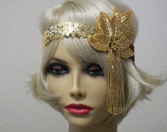 Flapper Headband, Gatsby Headband, 1920s Headband, Flapper Headpiece, Art Deco Headband, Gold Sequin Headband, 1920s Hair Accessory