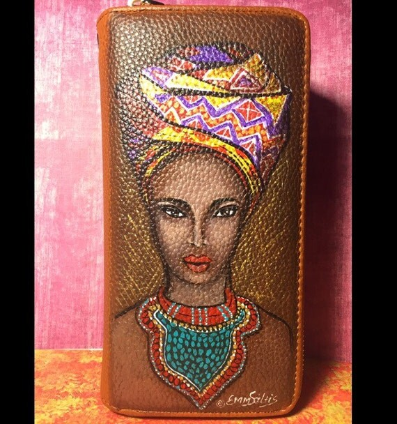Women's wallet. Double Zipper clutch wallet purse - African Princess, Hand painted by Emmanuel Saltis