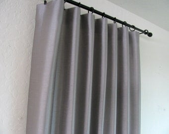 """Flat Panel Lined Custom Curtain/ Rod Pocket in Dove Grey Faux Dupioni Silk/ 50"""" wide Panel/ Available in Different Lengths and Colors"""