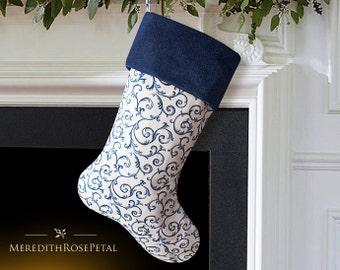 Blue Christmas Stocking, Blue Stocking, Blue and White Christmas Stocking, Blue and White Christmas