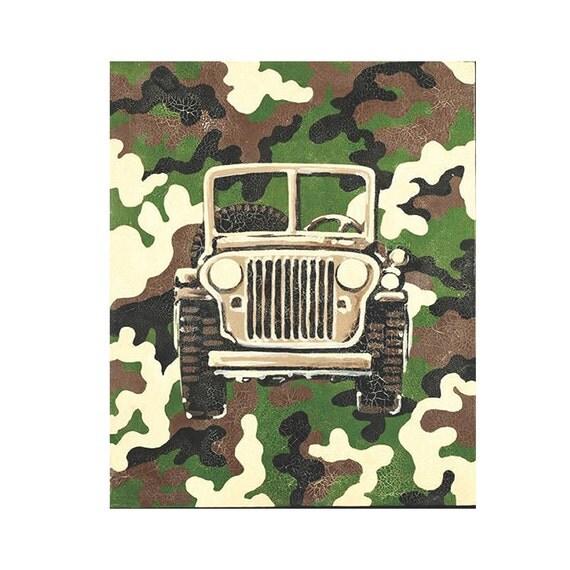 Items similar to camo art jeep wall decor hunting for Camo mural wall