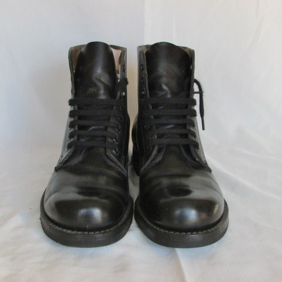HH BROWN Black Combat Boots Mens 7 Womens 9 Ankle Boots