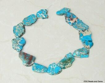 Light Blue Impression Jasper- Aqua Terra Jasper Stone Bead - Imperial Jasper Stone Slab Bead - Center Drilled - 15 inch Strand - 35mm x 40mm