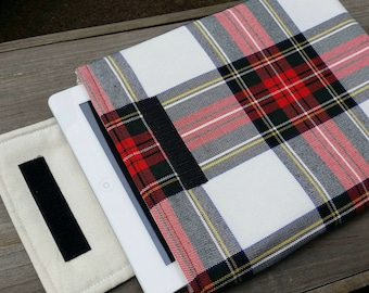 Red tartan iPad padded sleeve / case / cover