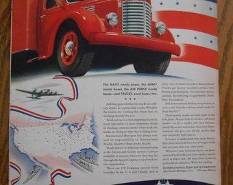 A40 Vintage 1941 International Truck militaria  Retro 1940s advertising Life magazine red truck mechanic gift gas station decor trucker gift