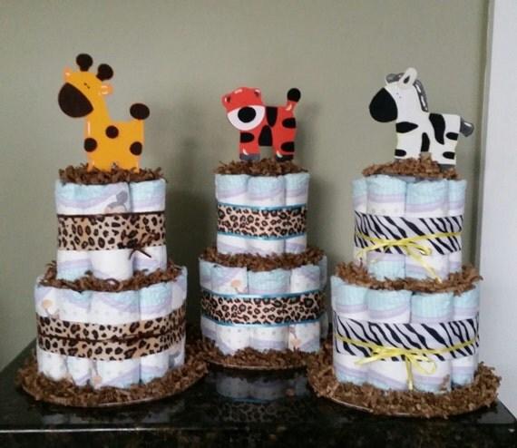 Jungle Safari Diaper Cake Centerpiece, Jungle theme mini diaper cakes baby shower centerpieces, Diaper Cake Centerpiece, Safari Centerpiece