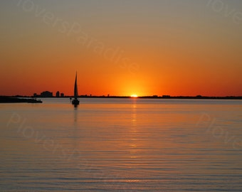Sailboat at Sunset Photograph Print // Florida Sunset Picture