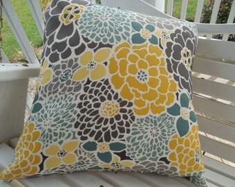 Gray Floral Outdoor Pillow Cover Patio Porch Decrative Throw Pillow Accent Cushion Spa Tones Yellow Gray Seafoam