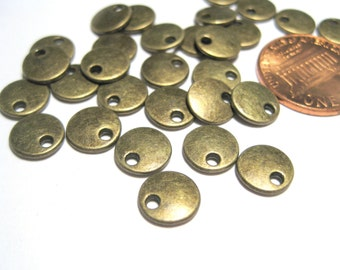 Antique Bronze Round Blank Stamping Tag Pendants 8mm