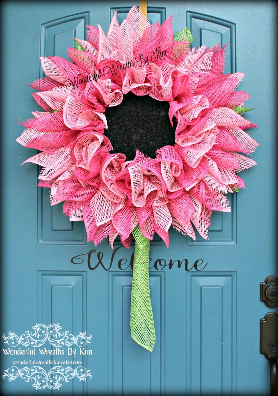 flower wreath deco mesh flower poly burlap by wonderfulwreathskim. Black Bedroom Furniture Sets. Home Design Ideas