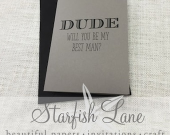 Dude Best Man Card with envelope