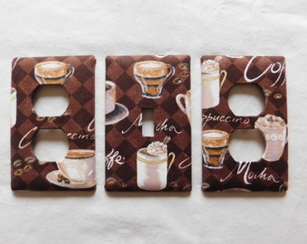 Light Switch Plate Outlet Plug Cover Custom Mocha Latte Cappuccino Rocker Cable Protective Plug Inserts