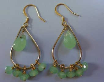 Gold Chandelier Earrings with Green Chrysopace Beads
