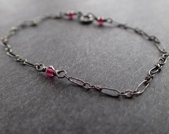 Garnet Silver Bracelet, Garnet Bracelet, Oxidized Silver Bracelet, Boho Bracelet, Garnet Sterling Silver Bracelet, Bohemian, Delicate,Dainty