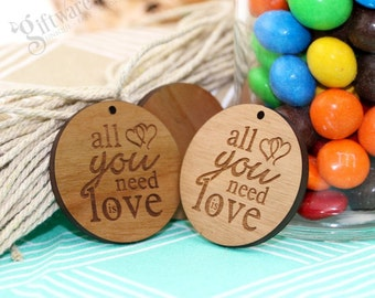 100 x Wooden Gift Tags All You Need Is Love Tags