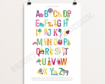 Alphabet poster | art print | nursery art | kids poster | home decor