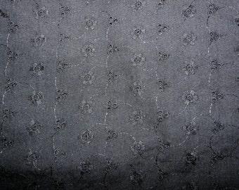 Fabric - black embroidery anglais  - poly/cotton.