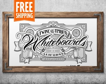 Premium Rustic Framed Whiteboard - Honey Maple