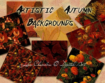 Artistic Autumn bBackgrounds INSTANT DOWNLOAD digital paper pack forest leaves printable decoupage paper