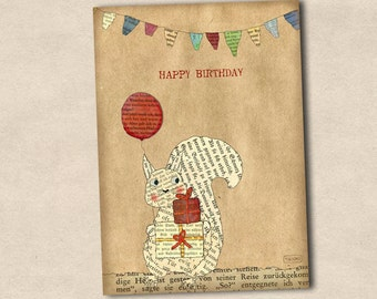 Postcard of happy birthday squirrel