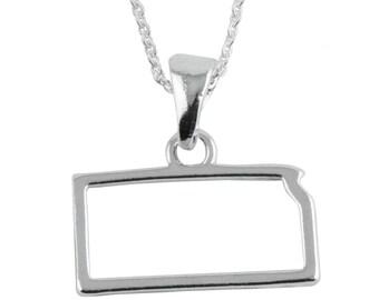 Kansas State Silver Outline Necklace, SOKS-6118