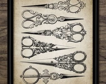 Vintage Hairdresser's Scissors Print - Printable Hairdresser Art - Antique Home Decor Sewing Scissors - Single Print #323 - INSTANT DOWNLOAD