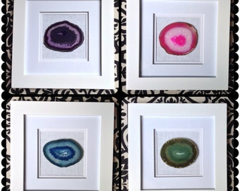 framed agate coaster framed geode coaster artwork choose your color of agate coasters geode coasters blue green purple pink black brown