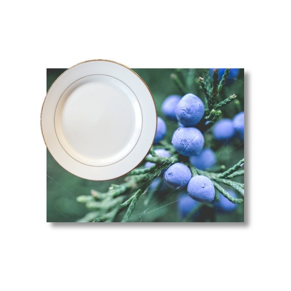 Blue and Green, Juniper Placemat, Winter Decor, Christmas Linens, Macro Photography, Photo Products, Picture Table Linens, Matte Images
