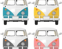 70% CLEARANCE THRU 9/3 Bus Clipart, transportation Clip Art, Retro vw van bus, Digital Clipart, vintage car graphic, commercial use, digital