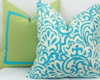 Aqua ivory scroll throw pillow cover 18x18 20x20 22x22 24x24 26x26 Euro sham Aqua lumbar pillow 12x24 14x24 14x26 16x24 16x26