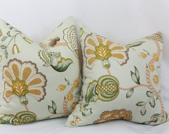 green orange floral throw pillow cover 20x20 jacobean pillow green apricot pillow p kaufmann pillow mint