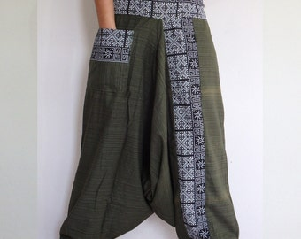 Green Rough cotton harem pants in a natural.