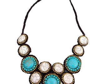 Necklace Handmade White Stones & Turquoise Stones Surround With Brass Beads.