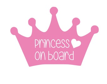 Princess Baby on Board Sticker / Baby on Board Car Decal / Baby on Board Decal / Baby on Board Sign / Baby Shower Gift / Car Sticker