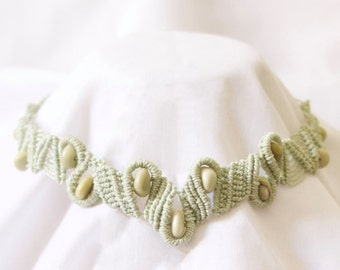 Macrame necklace with butter jade beads