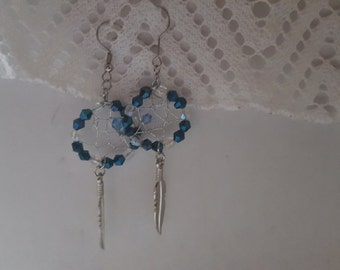 Blue and Clear Crystals Dreamcatcher Earrings