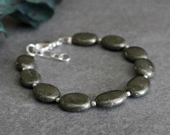 Grey Bead Bracelet, Pyrite Bracelet, Grey Bracelet, Pyrite Bead Bracelet, Grey Beaded Bracelet, Neutral Bracelet, Sterling Bracelet