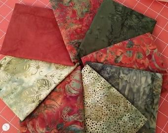 1/2 Yard Fabric Bundle of Hoffman Autumn Batiks.  8 Different Fabrics