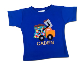 Boy's Garbage Truck Birthday Shirt with Small Primary Dots and Name - F76
