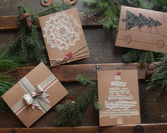 Pack of five Vintage Homemade Christmas Cards