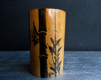 Vintage Mid Century Bamboo Cup Hand Painted In Japan / Tiki / Japanese / Drinkware / Kitchen / Home Decor / Accent / Asian / Barware