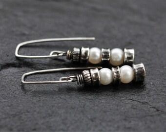 Silver pearl earrings, rustic earrings, oxidized sterling silver, pearl drop earrings, raw sterling silver earrings, artisan jewelry