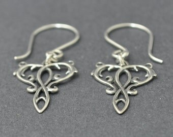 Sterling Silver Dangle Earrings, Silver Filigree Earring, Heart Earrings