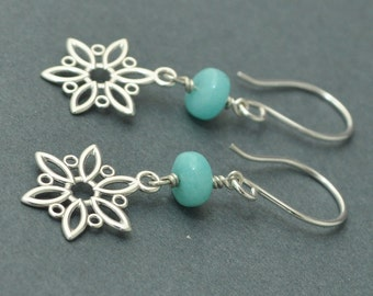 Sterling Silver Snowflake Earrings, Blue stone earrings, Amazonite earrings, Dangle earrings