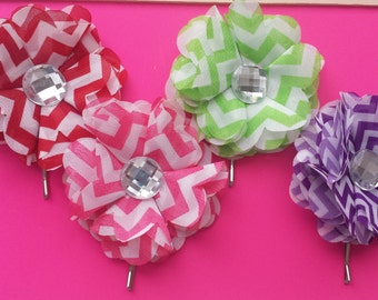chevron flower hair pins