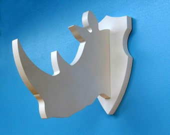 3D Rhino Shaped Wall Wooden Trophy Kids Room Decor