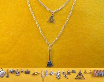 Wizard two layered necklace with the charms of your choice