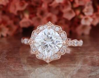 Forever One Moissanite Engagement Ring in 14k Rose Gold Vintage Floral Scalloped Diamond Wedding Band 8x8mm Cushion Moissanite Gemstone Ring