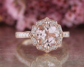 Vintage Floral Morganite Engagement Ring in 14k Rose Gold Milgrain Diamond Wedding Band 8x8mm Cushion Pink Peach Morganite Gemstone Ring