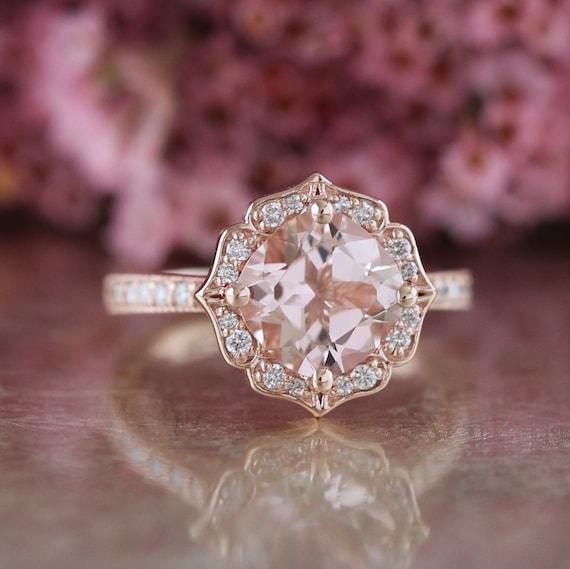 Morganite And Diamond Ring Etsy